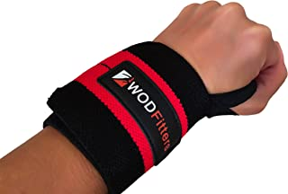 WODFitters Wrist Support Wrap Pair With A Hook & Loop Closure Sturdy, Soft Material – Maximum Tightness & Full Movement Range – Ideal For Powerlifting, Weightlifting, Boxing, MMA, Cross Training