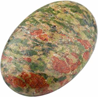 rockcloud Oval Worry Stones,Palm Pocket Energy Stone,Healing Crystal with Velvet Bag,Unakite