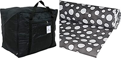 Kuber Industries Jumbo Soft Parachute Material Storage Bag & Polka Dot PVC Wardrobe Kitchen Drawer Shelf Mat - Grey, 10M Roll (CTKTC05449) Combo