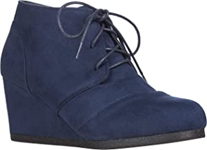 ILLUDE Women's Round Toe Lace Up Wedge Heels Suede Ankle Boots Booties