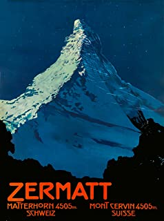 A SLICE IN TIME Zermatt Switzerland Swiss Matterhorn at Night Schweiz Suisse Europe European Vintage Travel Advertisement Art Poster Print. Measures 10 x 13.5 inches