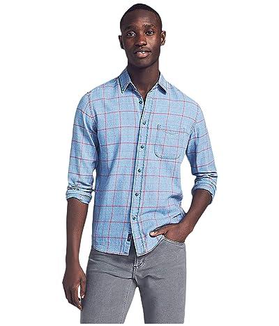 Faherty Slim Fit Indigo Windowpane Shirt (Washed Red Windowpane) Men