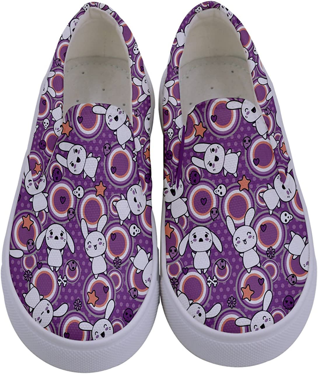 PattyCandy Girls Animals Doodle Kawaii Kids Canvas Slip-On Shoes,Size:US 8C-7Y