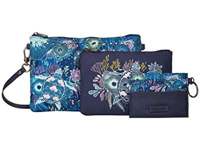 Sakroots Artist Circle Adventure Triple Pouch (Royal Blue Seascape) Handbags