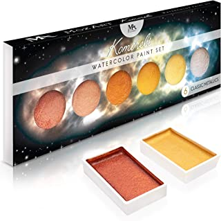 Metallic Komorebi Watercolor Paint Set, with 6 Shimmery Colors, Portable and Lightweight, Perfect for Artists, Students & Hobbyists - MozArt Supplies