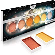 MozArt Supplies Metallic Komorebi Watercolor Paint Set, with 6 Shimmery Colors, Portable and Lightweight, Perfect for Arti...