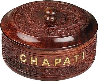 Karigar Creations Sheesham Wood Letter Print;Floral Chapati Box - 1 Pc, Brown