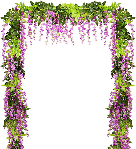 Lvydec Wisteria Artificial Flowers Garland 4 Pcs Total 28 8ft Artificial Wisteria Vine Silk Hanging Flower For Home Garden Outdoor Ceremony Wedding Arch Floral Decor Purplish Red