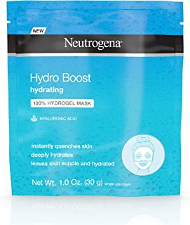 Neutrogena Hydro Boost Moisturizing & Hydrating 100% Hydrogel Face Mask Sheet with Hyaluronic Acid, 1 oz,pack of 12