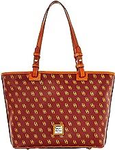 Dooney & Bourke DB Signature Small Leisure Shopper Tote Purse Shoulder Bag Leather Trim Handles