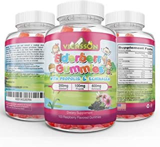 Vicksson Sambucus Elderberry Gummies with Propolis & Echinacea + Vitamin C Immune System Booster for Kids & Adults. Vegan Friendly | Raspberry Flavored. 100 Count