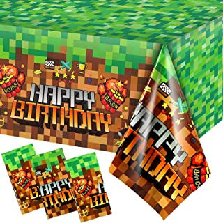Sponsored Ad - 3 Pieces Pixel Mining Tablecloth Pixelated Table Cloth Pixel Style Plastic Table Cover Video Game Tablecove...