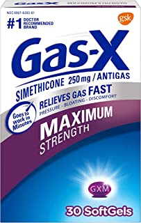 Gas-X Maximum Strength Softgels for Fast Relief from Gas Bloating and Discomfort, 30 Softgels