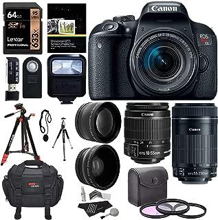 Canon EOS Rebel T7i EF-S 18-55 is STM DSLR Kit, EF 55-250mm II, 64GB U3 Memory Card, Wide Angle, Telephone Lens, 48