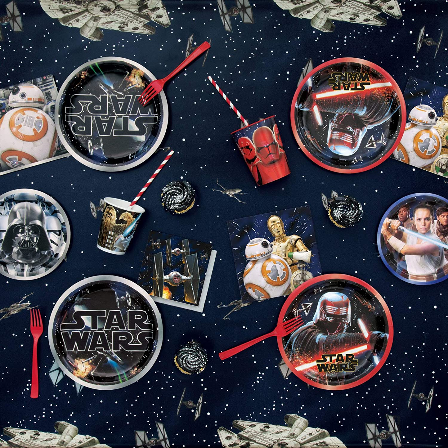 Star Wars Party Supplies Classic Star Wars Paper Dessert Plates and Beverage Napkins Serves 16