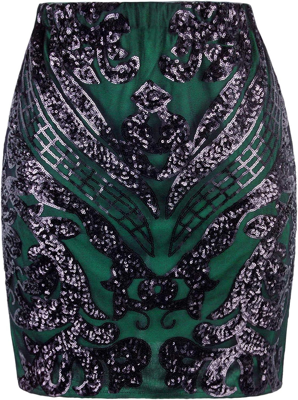 VIJIV Womens Forest Green Empire Sequin Mini Skirt Plus Size Glitter Pencil Skirts Midi Formal Party Wedding