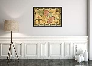 "Howard County, Maryland 1860 Map. Landowners identified. Includes 12 Illustrations of Landmark Buildings and 3 Insets of Lisbon, Ellicotts & Elkridge Landing|16""x24"" Wall Map"