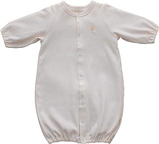 PUPO 綿100%のリブ2wayドレス ツーウェイオール 長袖 リブ編み ベビー アイボリー コットン100% 50-70cm 日本製 ドレスオール/カバーオール