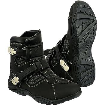 Black//Grey, 12 UK Jet Motorcycle Motorbike Shoes Boots Casual Short Ankle Denim Cow Suede Waterproof Armoured EU 45