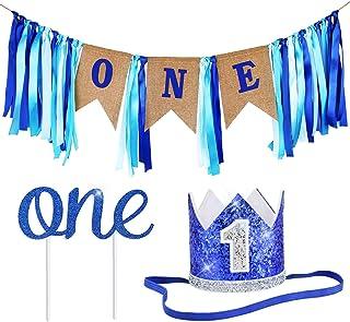 ZITA ELEMENT 1歳 子供 ガーランド バナー 飾り 誕生日 パーティー 壁飾り 飾り付け ウォールデコレーション ブルー セット
