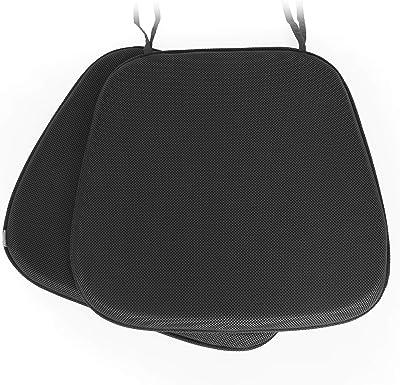 Shinnwa 通気性クッション 椅子用 ざぶとん ひも付き 事務椅子クッション 馬蹄型 ダイニングチェア クッション 丸洗える 滑り止め 椅子用 座布団 43*41*4CM ブラック 2枚セット