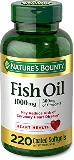 Fish Oil by Nature's Bounty, Dietary Supplement, Omega 3, Supports Heart Health, 1000 Mg, 220 Coated Softgels