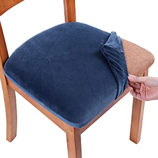 Best Smiry Original Velvet Dining Chair Seat Covers, Stretch Fitted Dining Room Upholstered Chair Seat Cushion Cover, Removable Washable Furniture Protector Slipcovers with Ties - Set of 6, Federal Blue Review