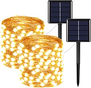 2-Pack Solar String Lights Outdoor 400LED, Upgraded Super Bright Halloween Lights with Much Bigger LED lamp Beams, Waterpr...