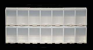 目から鱗® 薬ケース用 追加2連(印刷無し)2回×7日間 ;MKCLA2 :パーキンソン病他で薬を6回/日 以上飲まれる方に :特許第6579524号取得のアイディア商品です:白色・蓋は透明:縦13cm×横30cm ×高さ3.5cm 重さ300...
