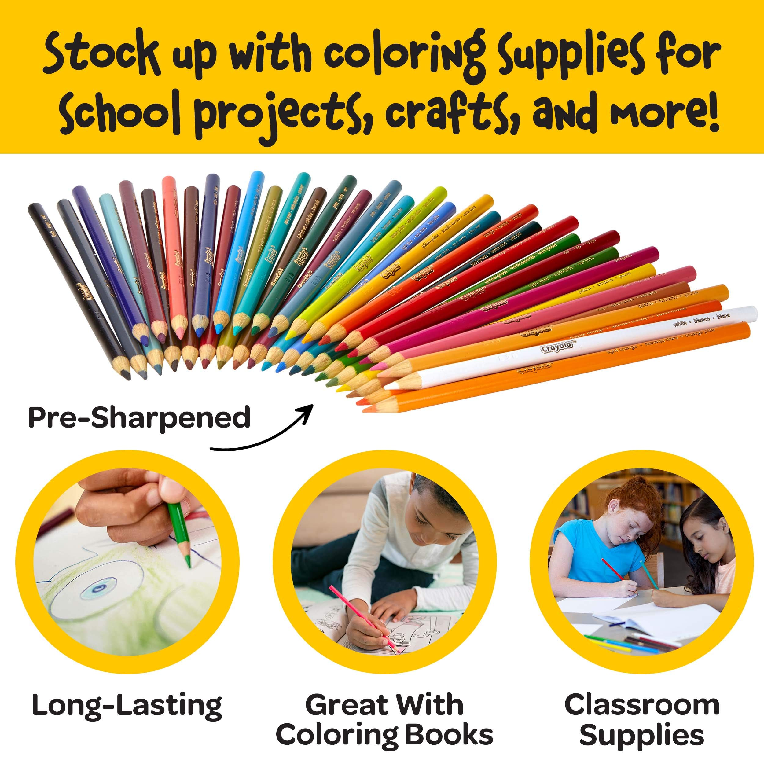 Crayola Colored Pencil Set, School Supplies, Assorted Colors, 36 Count, Long