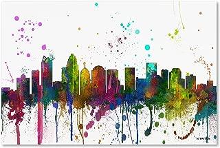 Charlotte NC Skyline Mclr-1 by Marlene Watson, 12x19-Inch Canvas Wall Art