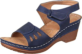 XE Looks Doctor Sole Comfortable Wedges Sandals for Women (Navy/Tan)