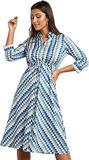 Retro Print Shirt Midi Women's Dress with Drawstring Waist