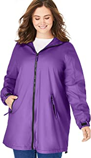 Woman Within Plus Size Hooded Slicker Raincoat
