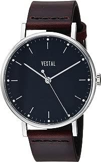 Vestal 'Sophisticate' Swiss Quartz Stainless Steel and Leather Dress Watch, Color:Brown (Model: SP42L04.CVBK)