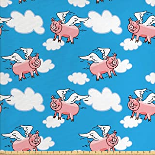 Lunarable Pig Fabric by The Yard, Flying Pig Cartoon Style Characters with Wings The Saying Kid Clouds Cartoon Style Print, Decorative Fabric for Upholstery and Home Accents, 1 Yard, Pink Blue