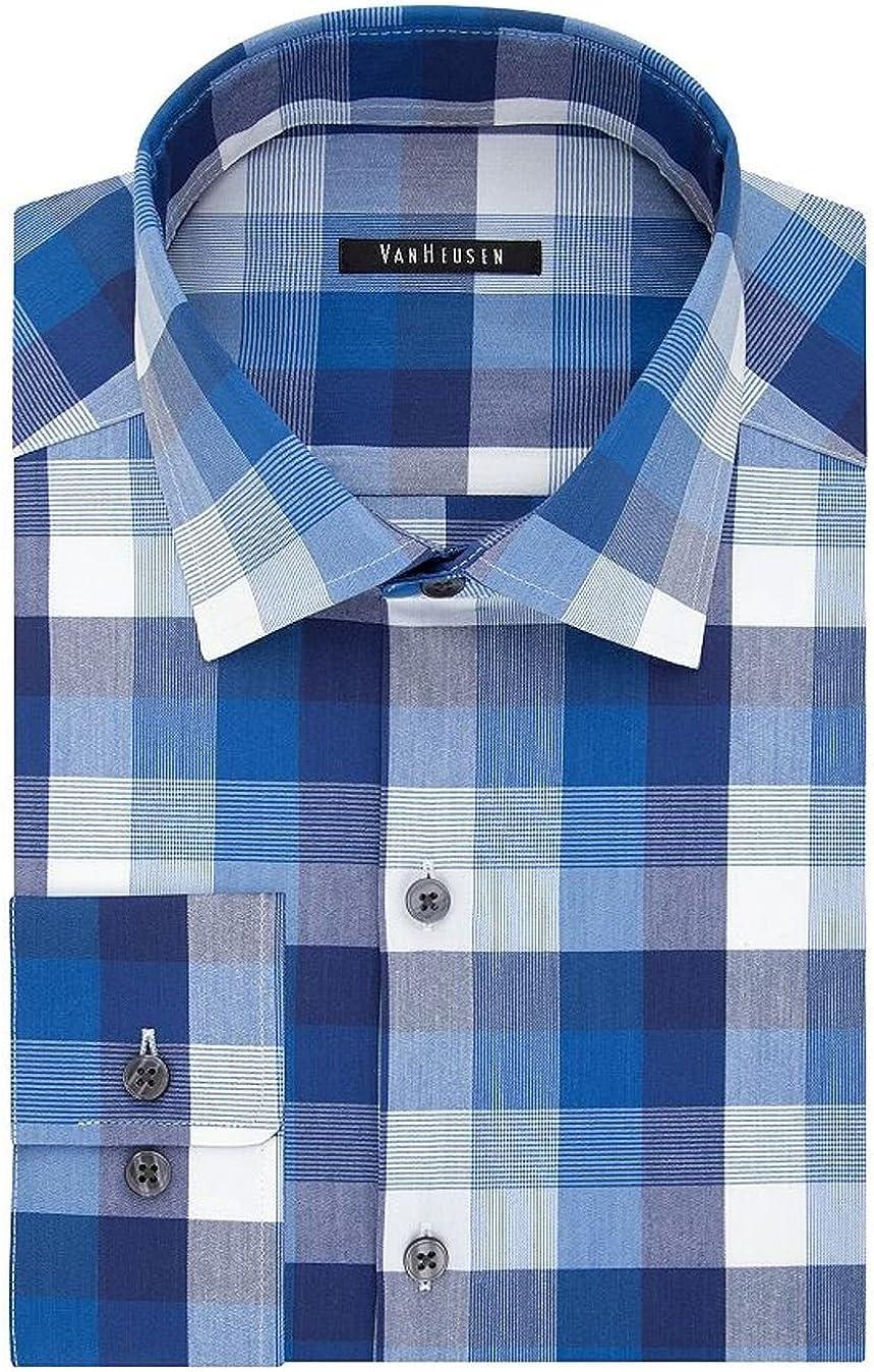 Van Heusen Men's Flex Collar Slim-Fit Long Sleeve Patterned Dress Shirt, Ultra Blue
