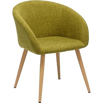 Chaise Salle à Manger en Tissu (Lin) sélection de Couleur Design Retro Chaise scandinave avec Pieds en Metal Effet Bois WY 8023, Couleur:Vert,