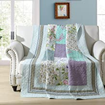 Patchwork Quilted Throw Blanket Coverlets Cotton Garden Floral Flowers Reversible Bedspread Quilt Bed Cover for Twin/Full ...