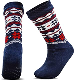 Xelay® 2 Pairs Mens Thermal Slipper Socks Fur Lined Anti Slip Gripper Argyle & Fairisle Pattern Extra Warmth Rating Winter...
