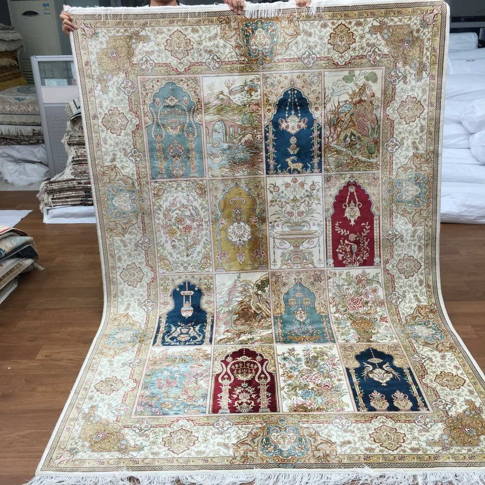 Yuchen 5.5x8 List price Four Season VTG Cash special price Handmade Turkish Persian Silk Carpe