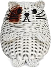 G6 COLLECTION Cat Rattan Storage Basket with Lid Decorative Bin Home Decor Hand Woven Shelf Organizer Cute Handmade Handcr...