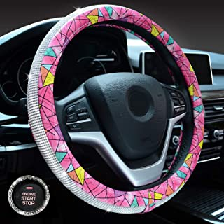 Crystal Diamond Steering Wheel Cover, PU Leather with Shiny Bling Bling Rhinestones, Universal 15inch / 38cm for Women Girls (Rose Red Geometric)