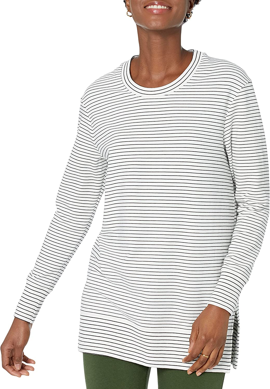 Amazon Brand - Daily Ritual Women's Relaxed Fit Terry Cotton and Modal Side-Vent Tunic