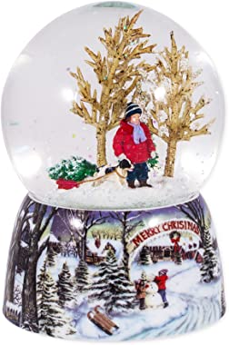 Roman Merry Xmas Snowy Woodland Scene Music Snow Globe Glitterdome Plays O Xmas Tree