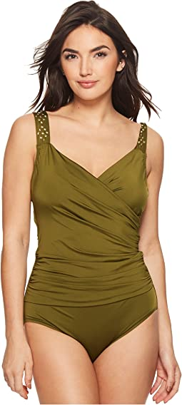 Jantzen - Solid Novelty Shoulder Draped Surplice One-Piece