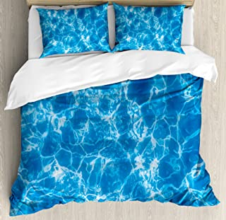 Lunarable Aqua Duvet Cover Set, Water Swimming Pool Surface with Sun Reflection Sea Ocean Inspired Image, Decorative 3 Piece Bedding Set with 2 Pillow Shams, Queen Size, Blue White