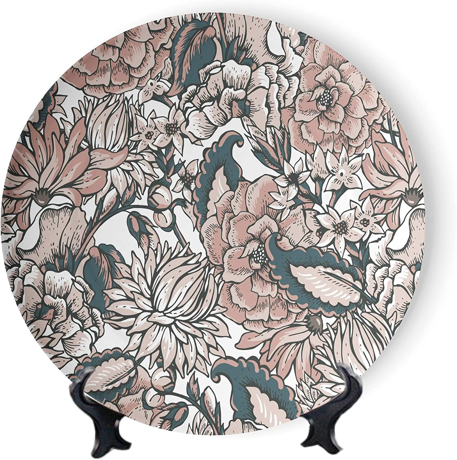 MOOMOO Floral New arrival Plate Ceramic Retro Boho Plat Accessory Decorative Shipping included