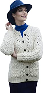 Ladies Cream Irish Aran Lumber Jacket with Pockets - Fast Delivery From Ireland