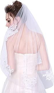 Wedding Veil Lace White Bridal Veil with Rhinestones 1 Tier
